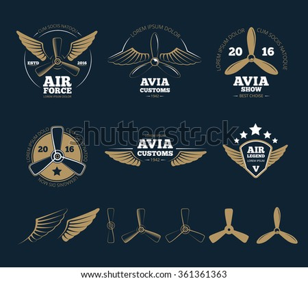 Aircraft design elements and logos. Airplane propeller, emblem or insignia, stamp flight, vector illustration - stock vector