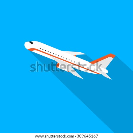 Aircraft Flat Design Style Vector Illustration Airplane Flying With Shadow  - stock vector