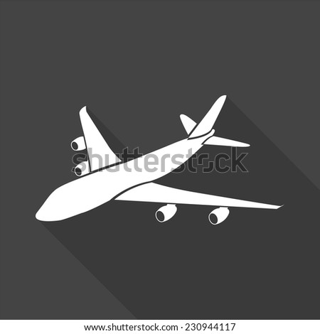 aircraft icon - vector illustration with long shadow isolated on gray  - stock vector