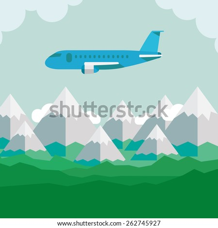aircraft in flight above the ground - stock vector