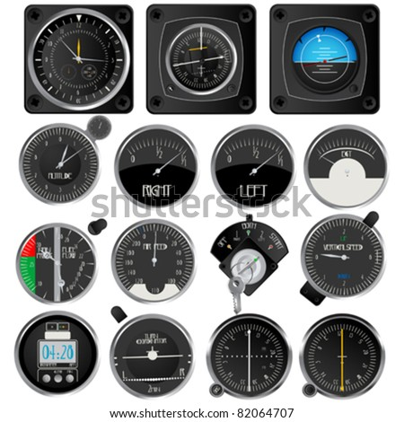 Aircraft instruments, isolated and grouped objects on white - stock vector