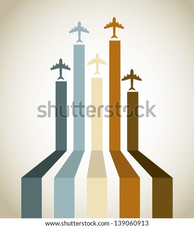 Aircraft line over vintage background vector illustration - stock vector