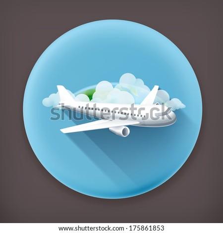 Aircraft, long shadow vector icon - stock vector