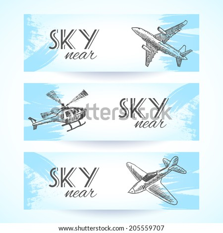 Aircraft military aviation sky vehicles sketch icons banners set isolated vector illustration - stock vector