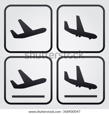 Aircraft or Airplane, Arrivals Departure pictograms, white background - stock vector