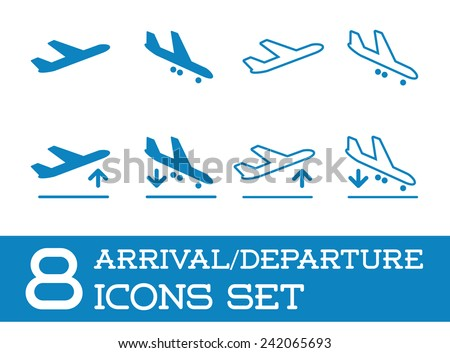 Aircraft or Airplane Icons Set Collection Vector Silhouette Arrivals Departure - stock vector