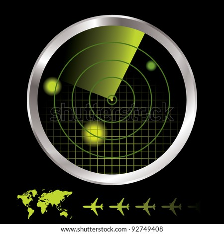 Aircraft radar for airport with world map and plane icon - stock vector