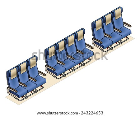 Aircraft seating row configuration: 3 - 4 - 3 - stock vector