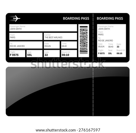 Airline boarding card ticket for business class. Vector illustration. - stock vector
