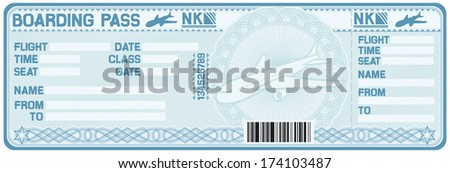 airline boarding pass tickets (plane ticket) - stock vector