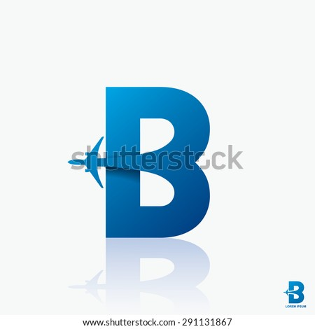 "Airline logo design with capital letter ""B"" - vector illustration - stock vector"