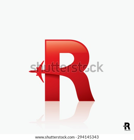 "Airline logo design with capital letter ""R"" - vector illustration  - stock vector"