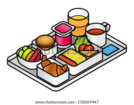 Airline meal - breakfast - on a tray with juice, tea, brioche, fruit, yogurt, croissant, scrambled eggs, sausage, hash brown and salad.. - stock vector