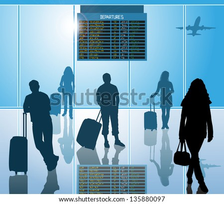 airline passengers with luggage in airport - stock vector