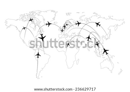Airline routes on map black and white infographic - stock vector