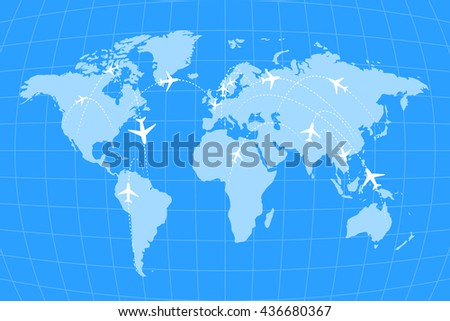 Airline routes on worldwide map, blue and white infographic illustration - stock vector