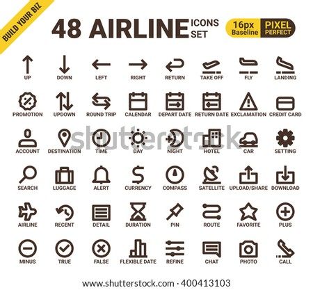 Airline web universal pixel perfect line icons modern style for travel mobile app - stock vector