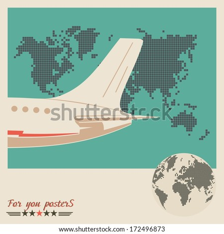 Airliner on world map background, retro poster. Flat  design - stock vector