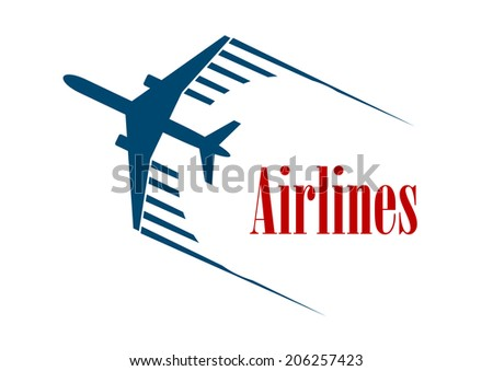 Airlines emblem or icon logo with a speeding blue jetliner airplane with motion trails above the word - Airlines - in red for aviation industry design - stock vector