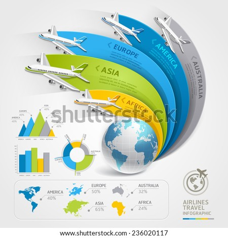 Airlines travel infographics. Vector illustration. Can be used for workflow layout, banner, diagram, web design, timeline template. - stock vector
