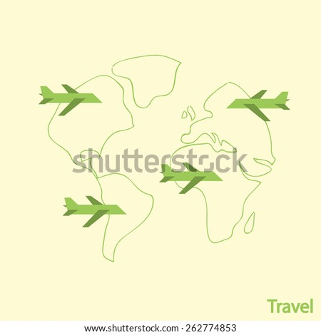 Airlines Travel, vector illustration - stock vector