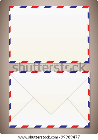 Airmail Envelope Front  & Back - stock vector