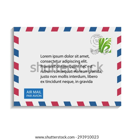 airmail envelope with stamp vector illustrations - stock vector