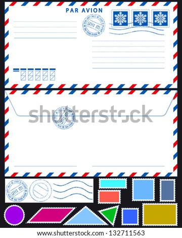 Airmail envelope with stamps collection on black - stock vector