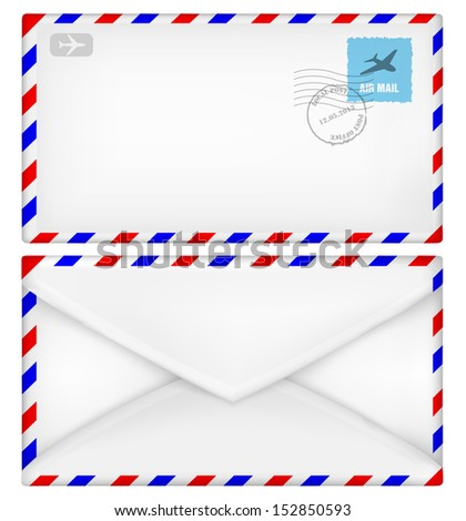Airmail envelope with stamps. Vector illustration - stock vector