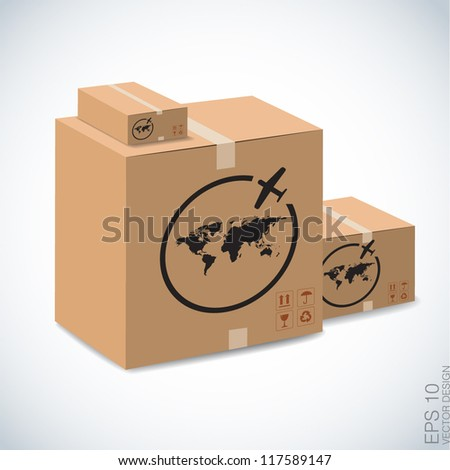 airmail sign on brown boxes. - stock vector