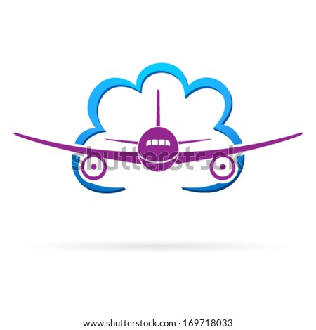 airplane and cloud - stock vector