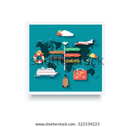 Airplane and cruise ship over the world map. Travel famous monuments around world with plane, sun and clouds. World, travel, travel around the world, globe, world travel, world map, around the globe - stock vector