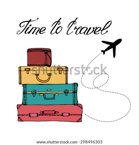 airplane and suitcase. The concept of travel and vacation. Time to travel - stock vector