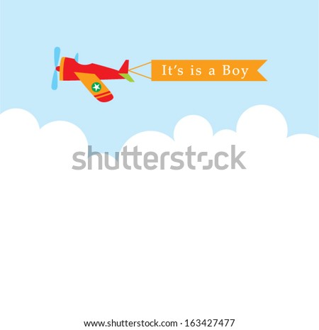 airplane baby boy announcement message - stock vector