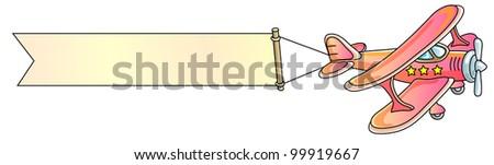 airplane, banner, biplane, vector illustration - stock vector