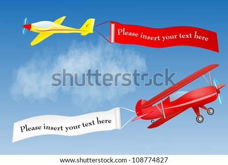 airplane banner with place for your text. Vector. Air message - stock vector