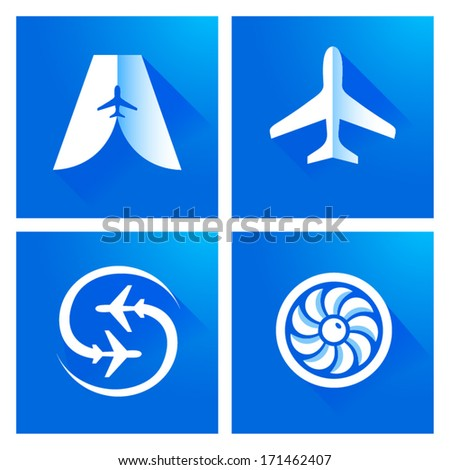 airplane blue element icons - stock vector