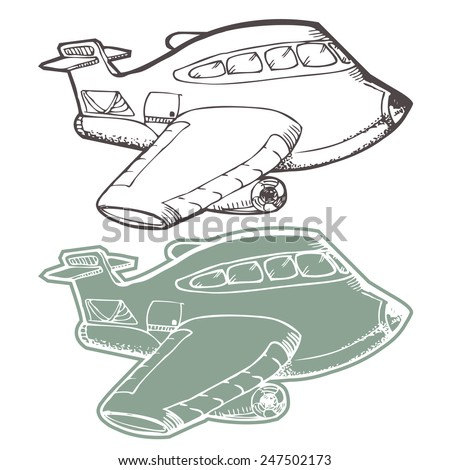airplane cartoon hand draw isolated on white - stock vector