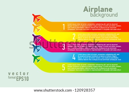 airplane coloful list background - stock vector