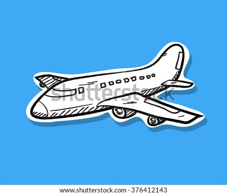 Airplane Doodle, a hand drawn vector doodle of an airplane, isolated on a simple background (editable). - stock vector