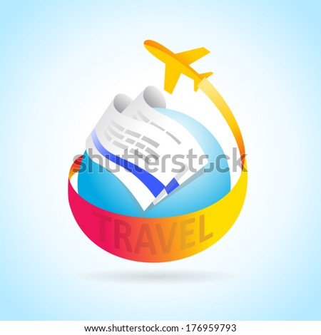 airplane flight air fly travel takeoff blue globe tickets element - stock vector