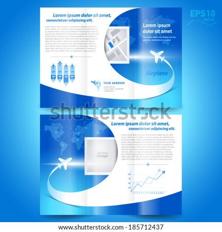 airplane flight line takeoff blue - brochure design template tri-fold  - stock vector