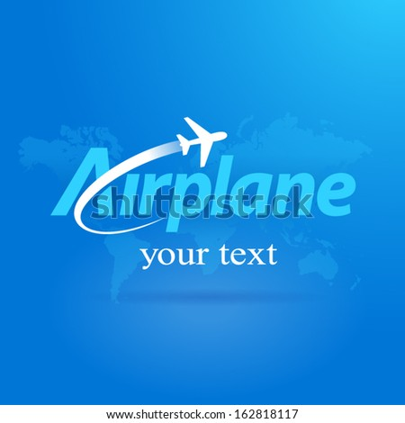 airplane flight plane symbol fly emblem blue background takeoff - stock vector