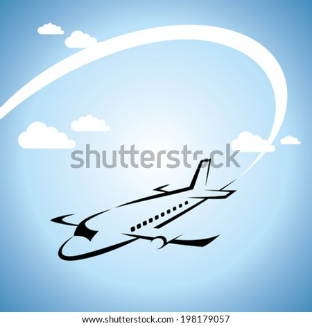 airplane flight tickets air fly travel silhouette element - stock vector