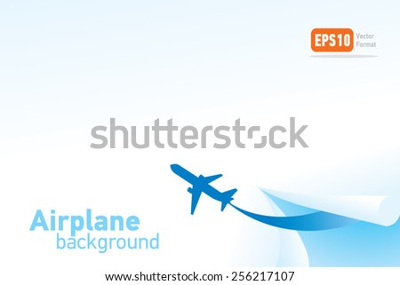airplane flight tickets air fly travel takeoff blue silhouette background vector - stock vector