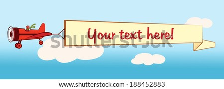 Airplane flying a banner with space for text. EPS10  - stock vector