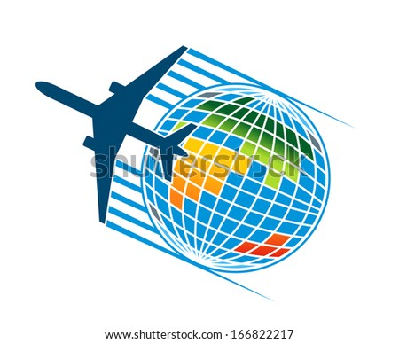 Airplane flying around a colourful earth globe for travel or transportation industry concept, also as a logo idea. Jpeg (bitmap) version also available in gallery - stock vector