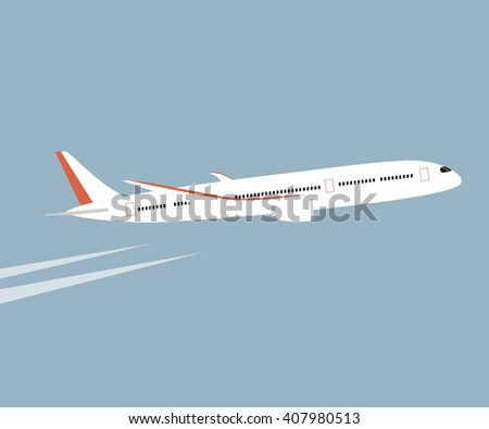 Airplane flying in the blue sky background. Vector flat style illustration. White airplane icon - stock vector