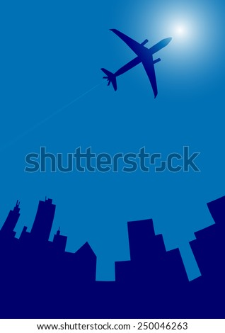 Airplane flying in the blue sky-Vector illustration  - stock vector