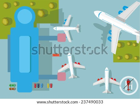 Airplane flying over airport. Vector illustration. - stock vector
